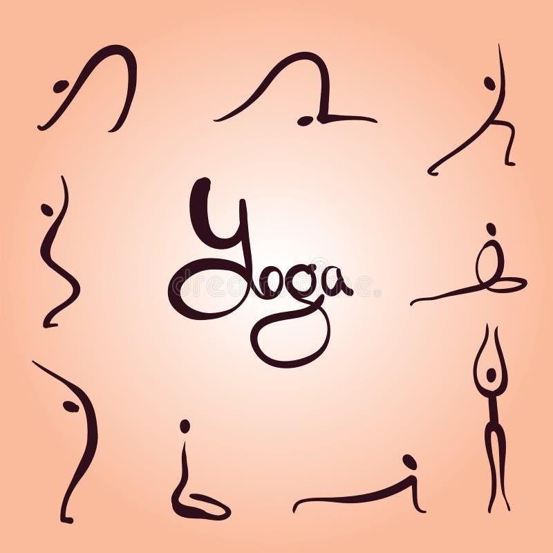 Enkla yogaasanas stock illustrationer