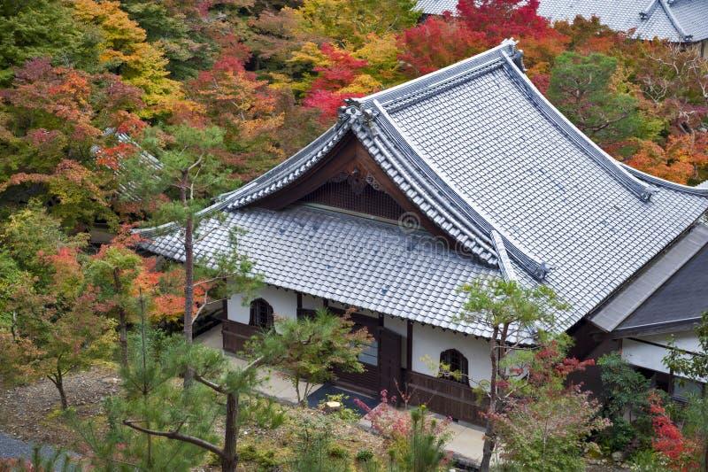 Enkoji寺庙和北部京都市地平线风景顶视图在秋天期间 免版税库存照片