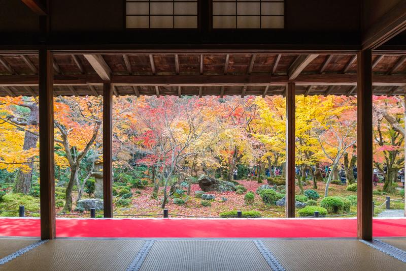 Enkojitempel in de herfst in Kyoto Japan royalty-vrije stock afbeelding