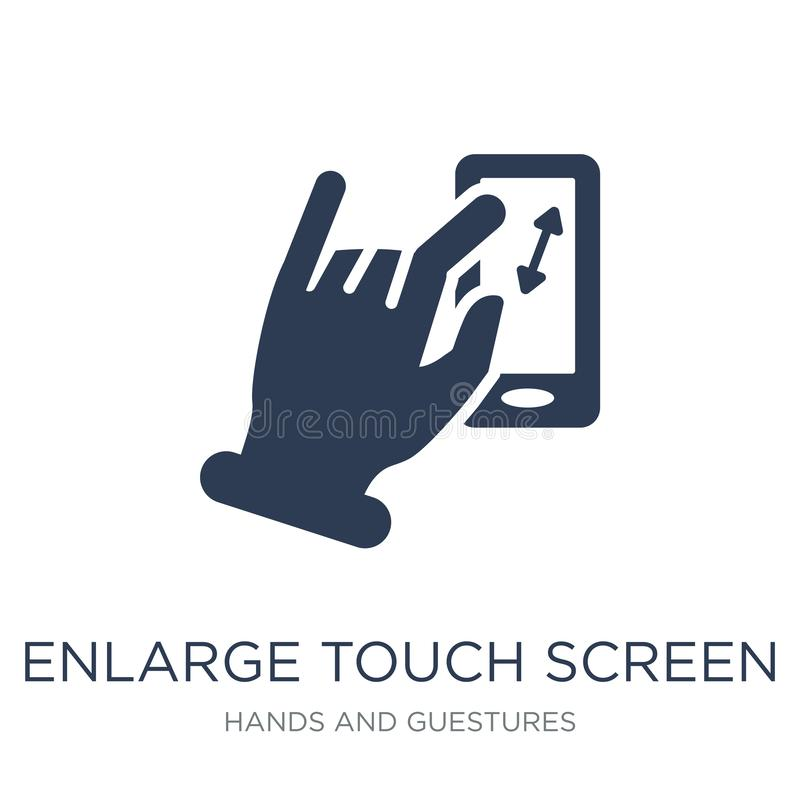 Enlarge touch screen gesture icon. Trendy flat vector Enlarge to. Uch screen gesture icon on white background from Hands and guestures collection, vector vector illustration