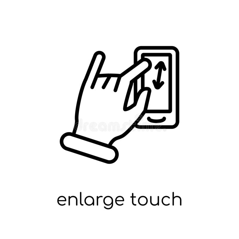 Enlarge touch screen gesture icon. Trendy modern flat linear vec. Tor enlarge touch screen gesture icon on white background from thin line Hands and guestures vector illustration