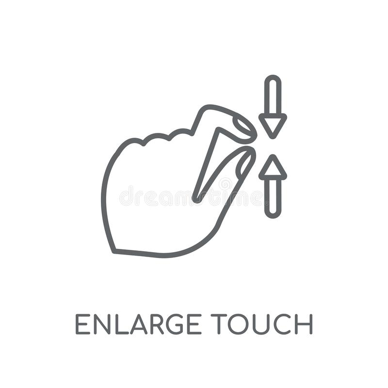Enlarge touch screen gesture linear icon. Modern outline Enlarge. Touch screen gesture logo concept on white background from Hands collection. Suitable for use royalty free illustration