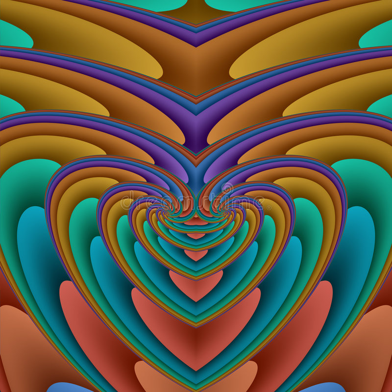 Enlarging spiral heart vector illustration