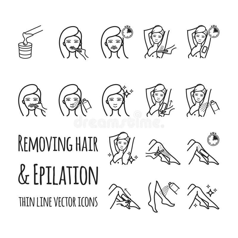 Enlever des cheveux à l'aide de la cire de sucrage ou de bande Dépilage, icônes de vecteur d'epilation réglées illustration de vecteur