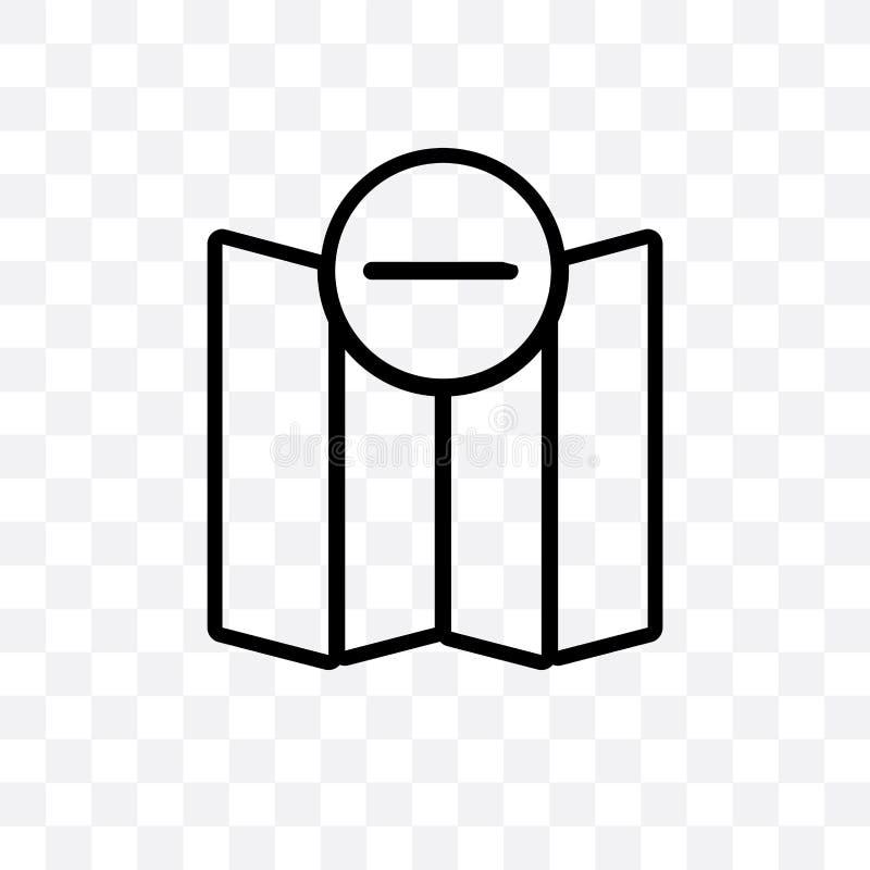 Enlevez de l'icône linéaire de vecteur de carte d'isolement sur le fond transparent, enlevez du concept de transparent de carte p illustration libre de droits