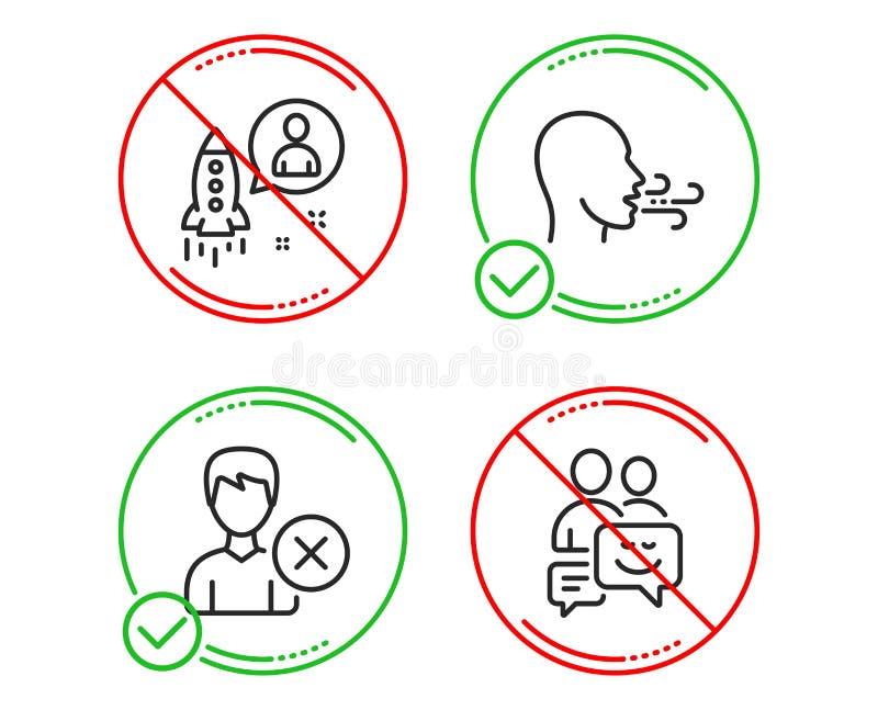 Enlevez le compte, le d?marrage et l'ensemble de respiration d'ic?nes d'exercice Signe de communication Utilisateur de suppressio illustration libre de droits