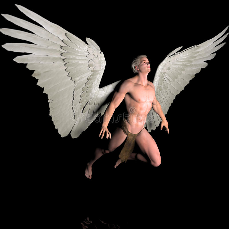 Enlighten. A male angel in a pose vector illustration