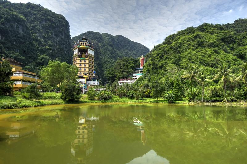 Enlightened Heart Buddhist Temple. Is a sprawling Tibetan temple complex with a tall pagoda tucked away in a hidden valley in the Tambun district of Ipoh, Perak stock photos
