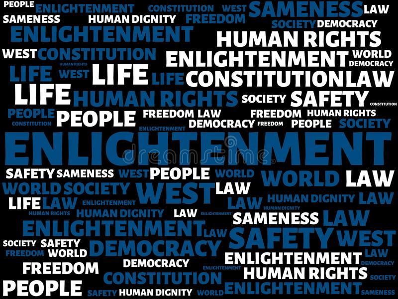 ENLIGHTENMENT - IGNORANCE - image with words associated with the topic COMMUNITY OF VALUES, word, image, illustration. ENLIGHTENMENT - IGNORANCE - image with vector illustration