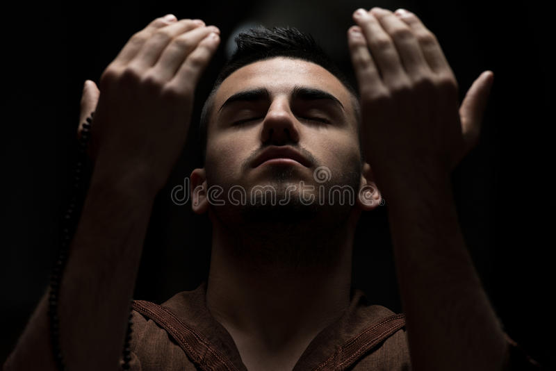 Enlightment. Muslim Man Is Praying In The Mosque royalty free stock images