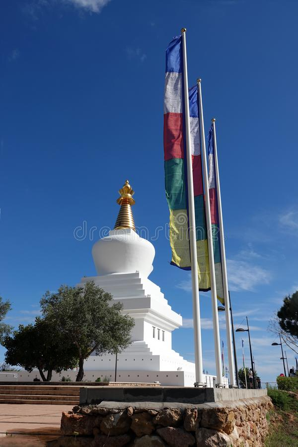 Enlightment stupa of Benalmadena near Malaga in Spain. Buddhist temple on the viewpoint of El Retamar in Benalmadena overlooking the Mediterranean sea in stock images