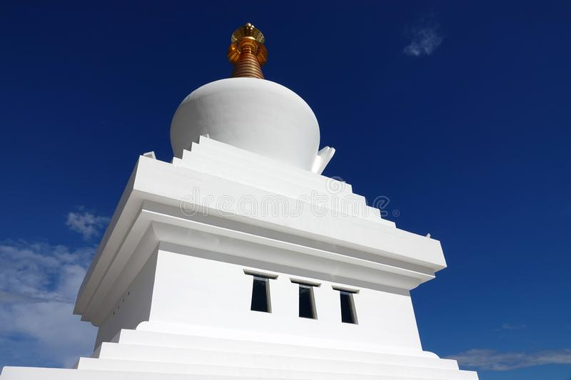 Enlightment stupa of Benalmadena near Malaga in Spain. Buddhist temple on the viewpoint of El Retamar in Benalmadena overlooking the Mediterranean sea in royalty free stock photography