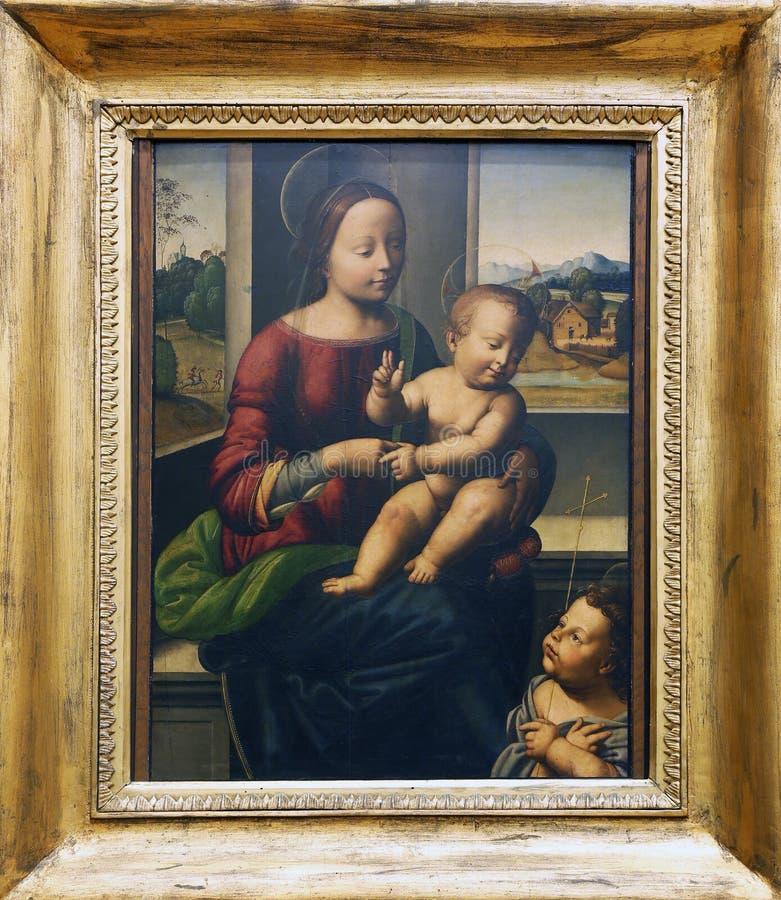 Enligt Fra Bartolommeo: Madonna och barn med St John arkivfoto