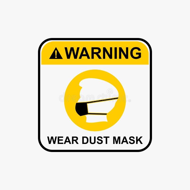 Enmascare el icono requerido, icono de la máscara de polvo del desgaste, vector amonestador del diseño del icono ilustración del vector