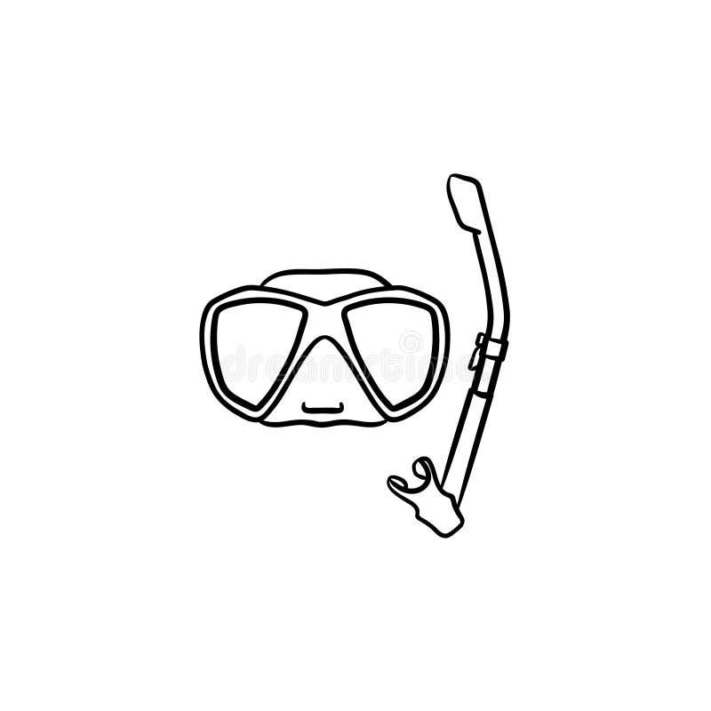 Enmascare y bucee para la nadada en icono dibujado mano de la piscina ilustración del vector