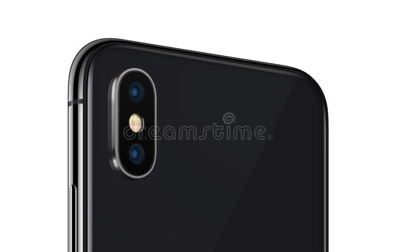 Ennegrezca el cierre girado del lado trasero del smartphone para arriba con el módulo de la cámara aislado en el fondo blanco foto de archivo libre de regalías
