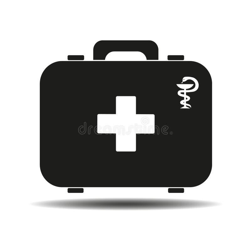 Ennegrezca el equipo de primeros auxilios aislado en el fondo blanco Salud, ayuda y concepto médico de los diagnósticos Diseño pl stock de ilustración