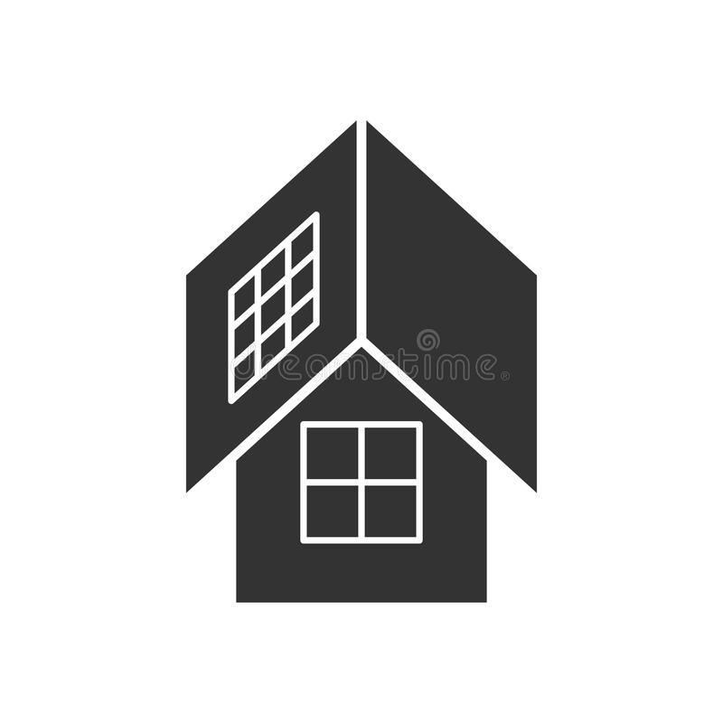 Ennegrezca el icono aislado de la casa del eco con los paneles solares en el fondo blanco Silueta de la casa ecológica, ecohouse  ilustración del vector