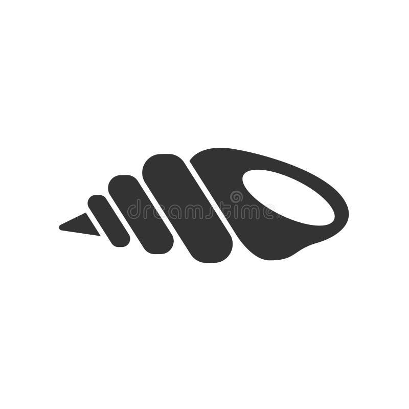 Ennegrezca el icono aislado de la concha marina en el fondo blanco Icono de la cáscara del mar ilustración del vector