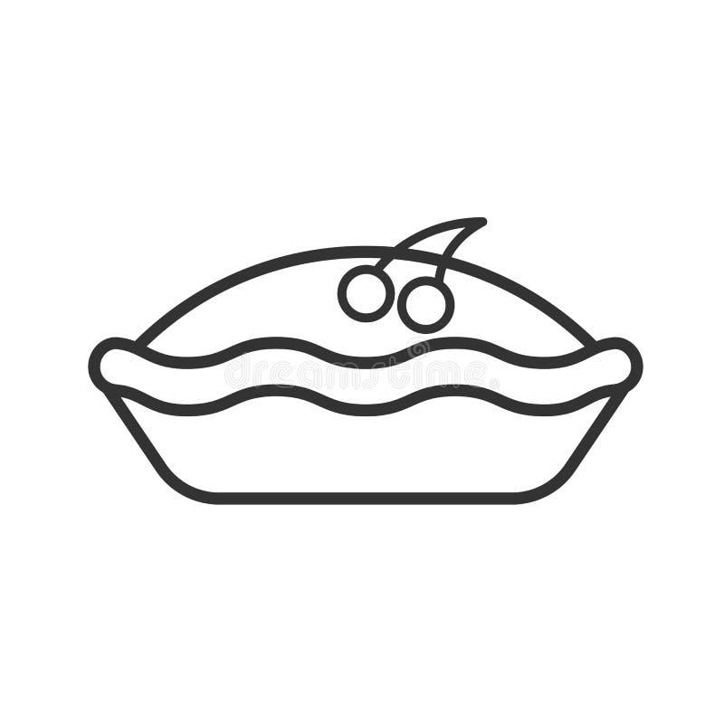 Ennegrezca el icono aislado del esquema de la empanada con la cereza en el fondo blanco Línea icono de empanada de la baya stock de ilustración