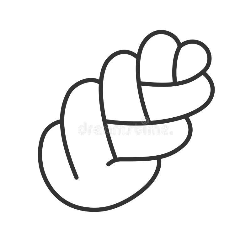 Ennegrezca el icono aislado del esquema del pan de la trenza en el fondo blanco Línea icono de jalá ilustración del vector