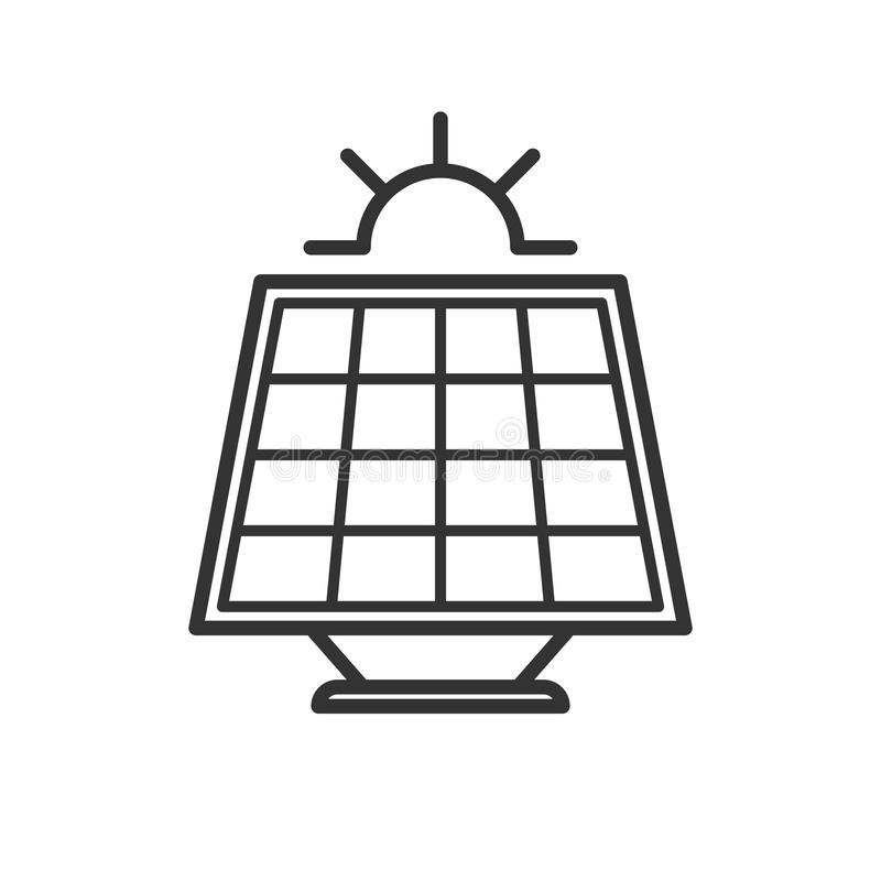 Ennegrezca el icono aislado del esquema del panel solar con el sol en el fondo blanco Línea icono de batería solar ilustración del vector