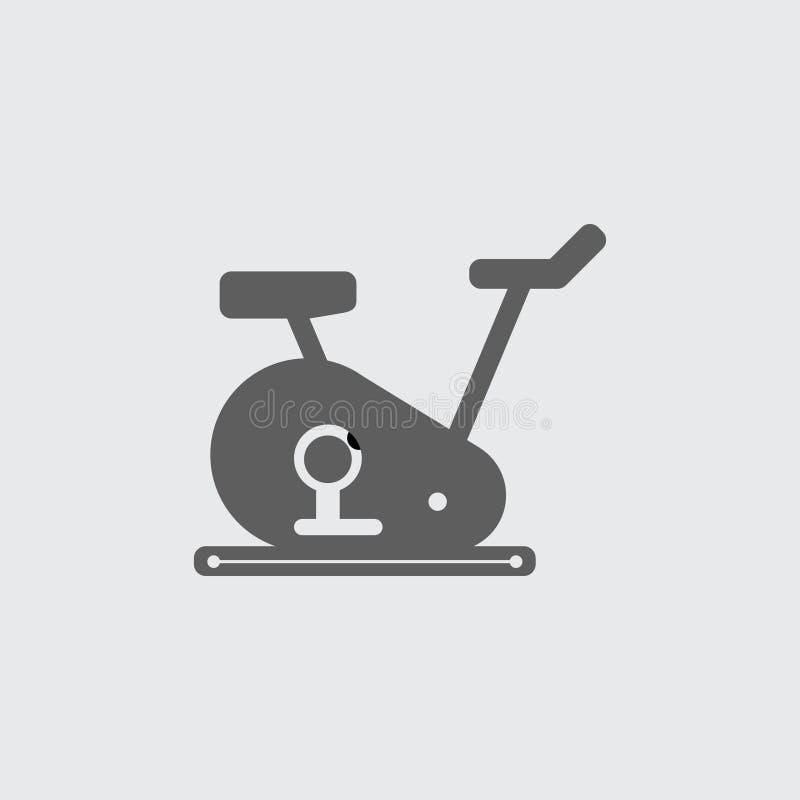 Ennegrezca el icono plano del vector de la bici del entrenamiento del gimnasio stock de ilustración