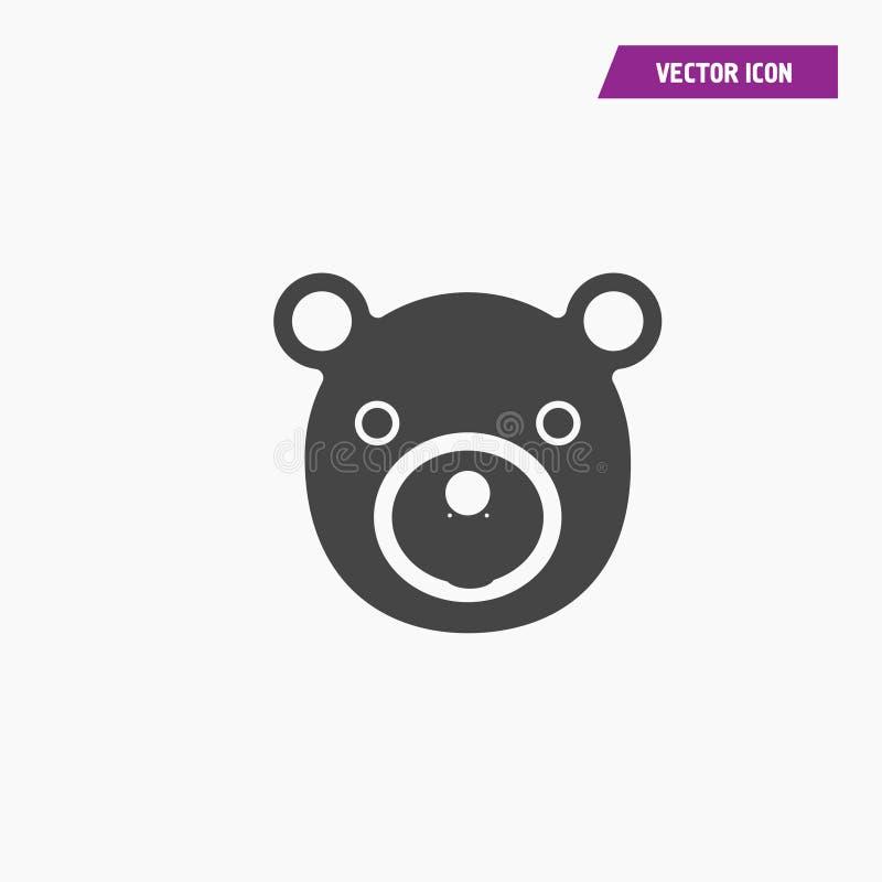 Ennegrezca el icono plano del vector de la cara del oso de peluche libre illustration