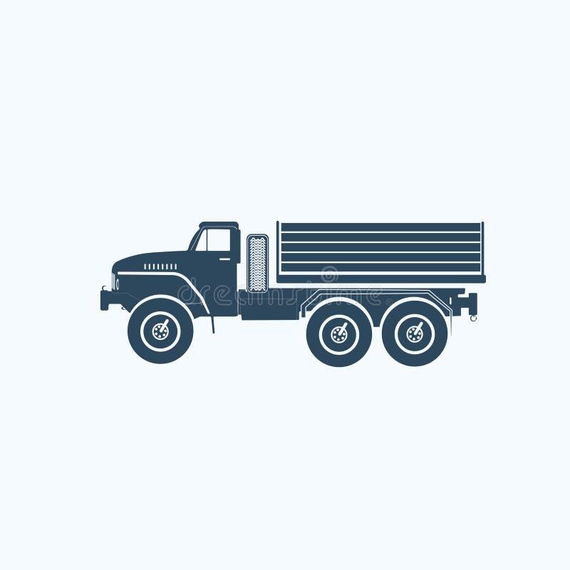 Ennegrezca el icono plano del vehículo del camión del diseño ilustración del vector