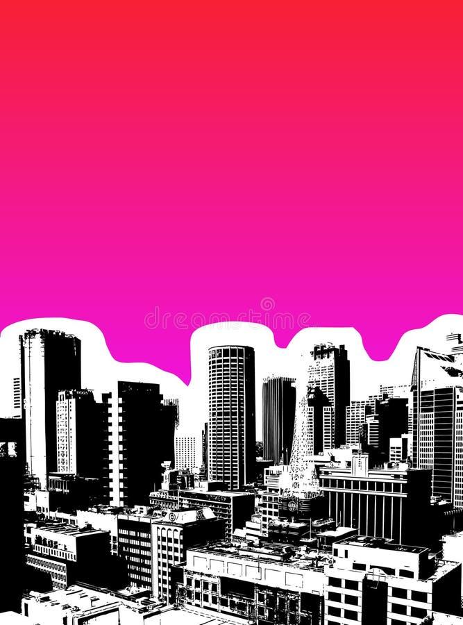 Ennegrezca la ciudad con el fondo rosado. ilustración del vector