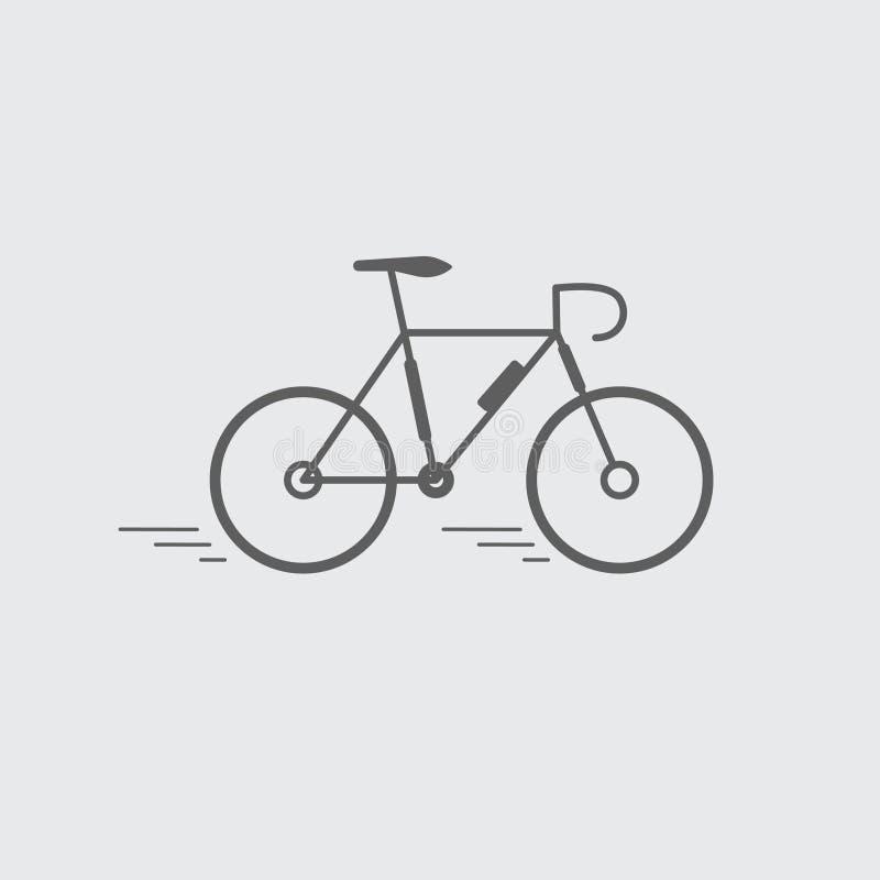Ennegrezca la línea plana bici, icono de la bicicleta stock de ilustración
