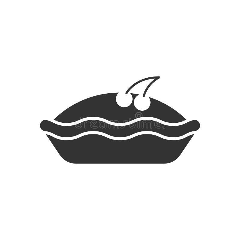 Ennegrezca la silueta aislada de la empanada con la cereza en el fondo blanco Icono de la empanada de la baya libre illustration