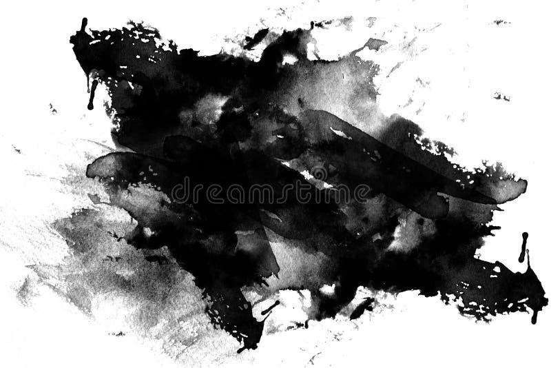 Ennegrezca la tinta manchada en blanco stock de ilustración