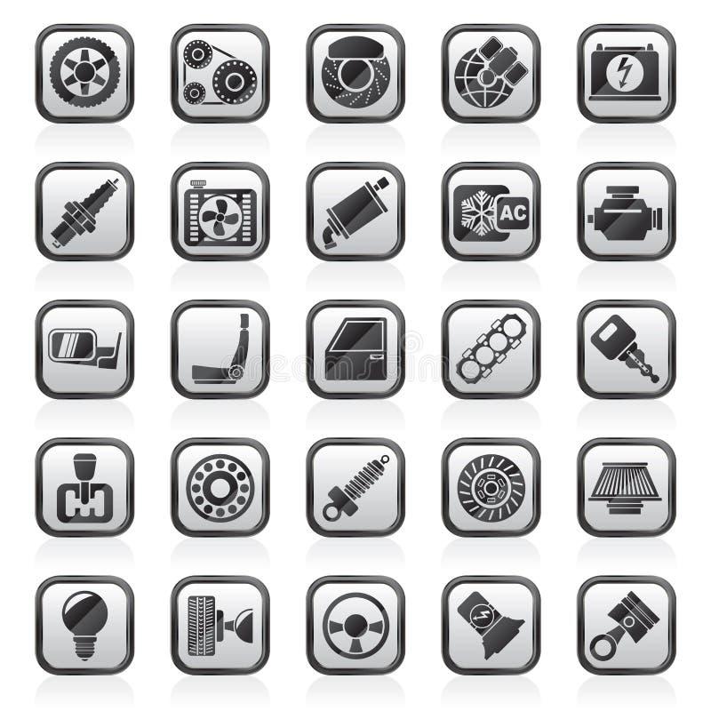 Ennegrezca las piezas de un coche del blanco y mantiene iconos ilustración del vector