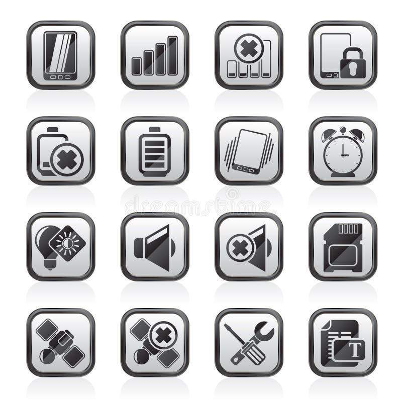 Ennegrezca los iconos blancos de una muestra del teléfono móvil stock de ilustración