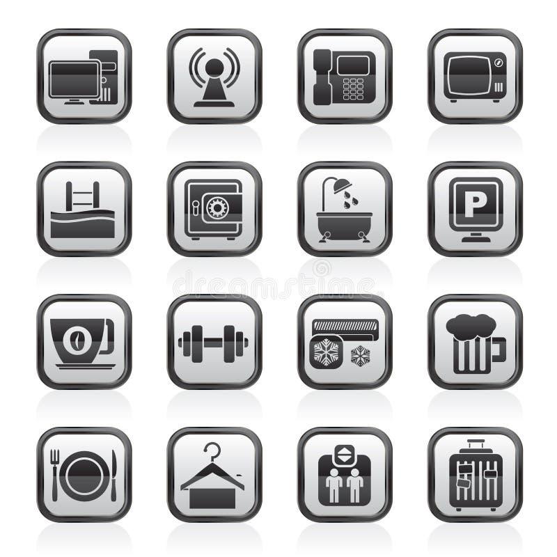 Ennegrezca los iconos de los servicios de las amenidades de un hotel del blanco ilustración del vector