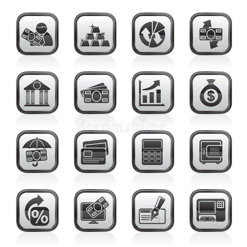 Ennegrezca los iconos de un banco blanco, del negocio y de las finanzas libre illustration