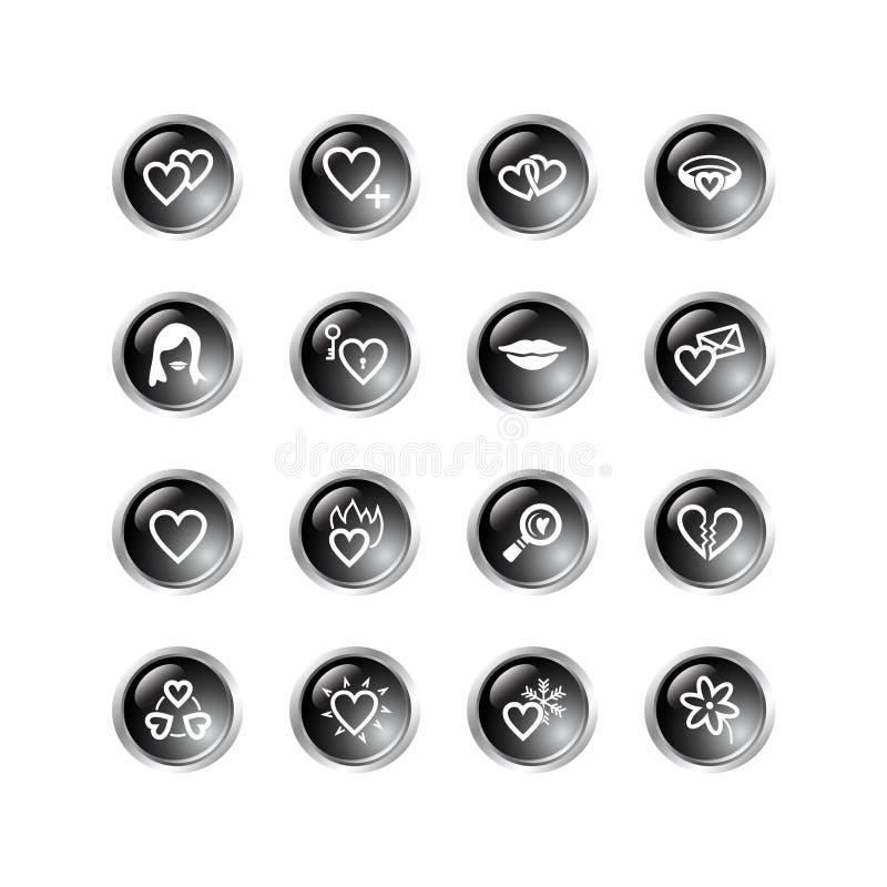 Ennegrezca los iconos del amor de la gota stock de ilustración