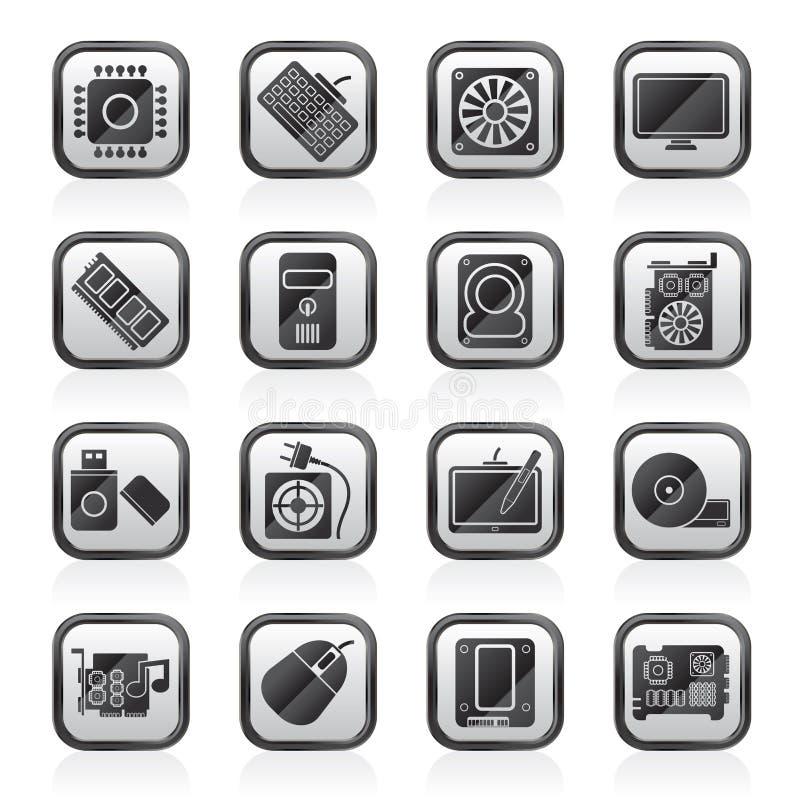 Ennegrezca los iconos del blanco de una pieza del ordenador ilustración del vector