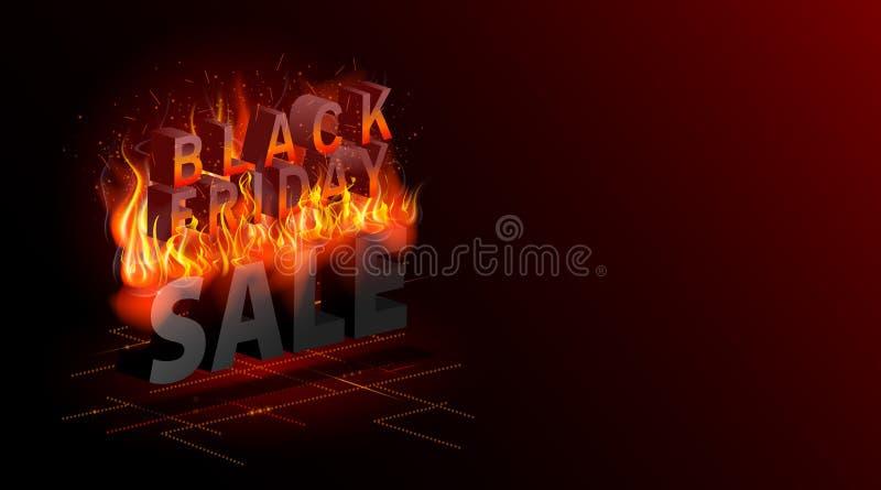 Ennegrezca viernes Bandera de la venta Los descuentos más calientes Ejemplo del fuego Vector abstracto isométrico moderno Aterriz libre illustration
