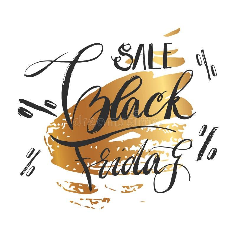 Ennegrezca viernes Black Friday que pone letras hecho a mano caligráfico, el lujo del oro del color Diseño del cartel de la publi stock de ilustración