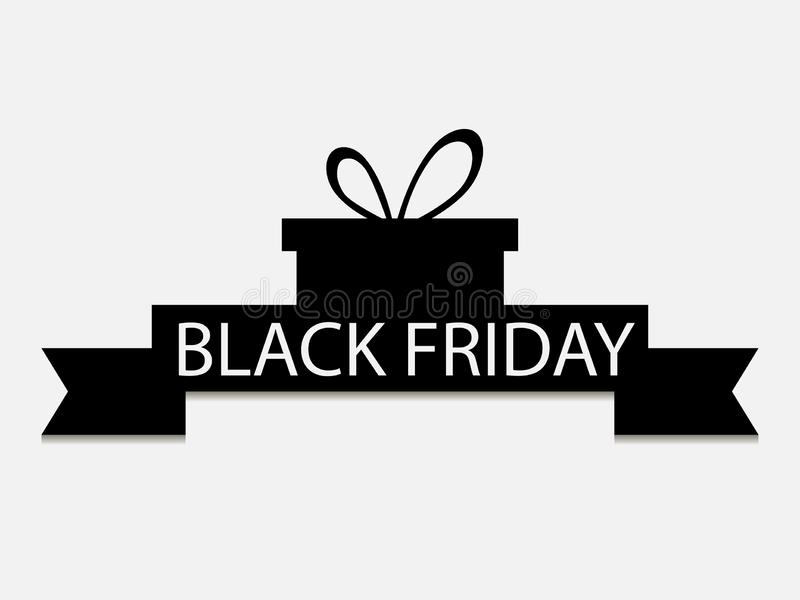 Ennegrezca viernes Caja de regalo con la cinta aislada en el fondo blanco Descuentos y ventas grandes Vector libre illustration