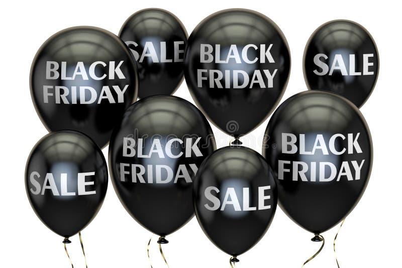 Ennegrezca viernes Concepto de la venta y del descuento con los globos 3d rinden stock de ilustración