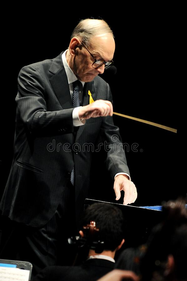 Ennio Morricone at the Forum Assago. Milan Italy 19/11/2010 Live concert of Ennio Morricone at the Forum Assago royalty free stock images