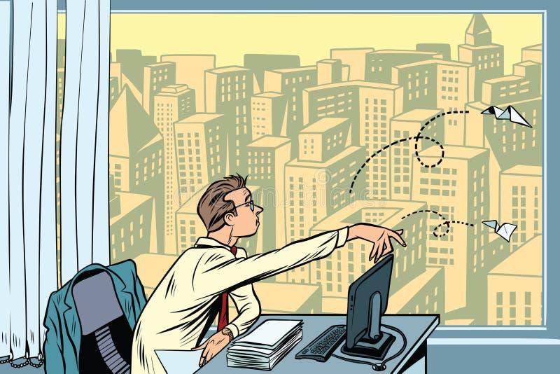 Ennui au travail Avions de papier de lancement d'homme d'affaires illustration stock