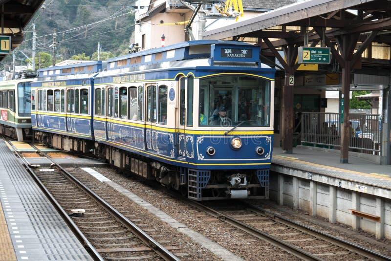 Enodenlijn in Kamakura bij Hase-post, Kamakura, Japan stock fotografie