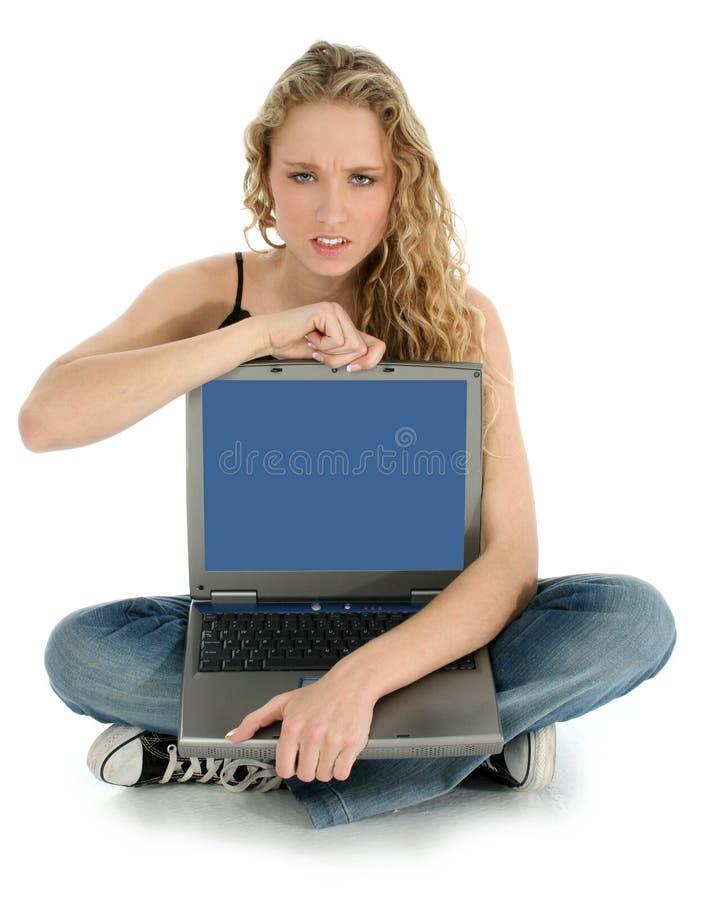 Enojado con la computadora portátil imágenes de archivo libres de regalías