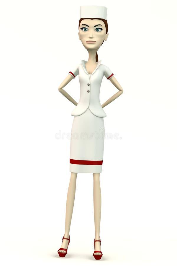 Enojado en ropa de la enfermera ilustración del vector