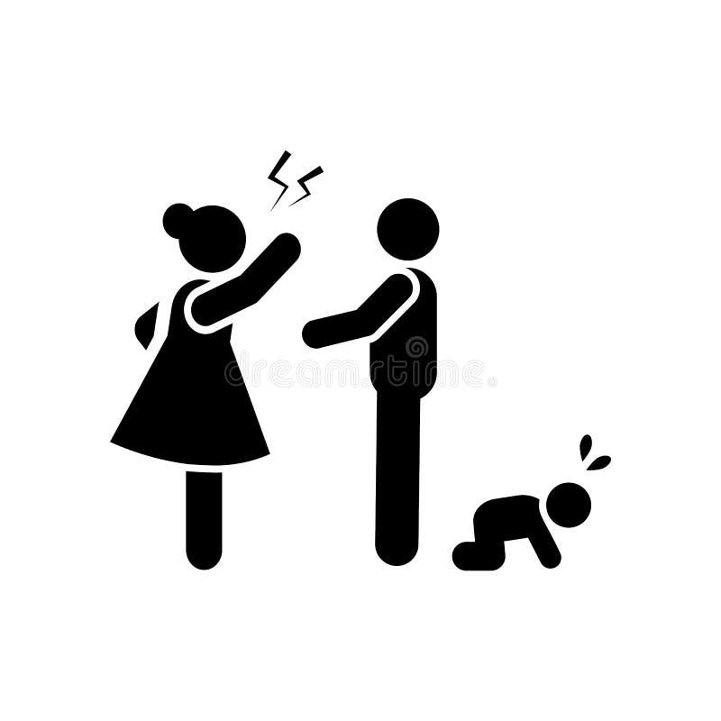 Enojado, familia, negativa, icono de la pelea r Icono superior del dise?o gr?fico de la calidad muestras y colecci?n de los s?mbo stock de ilustración