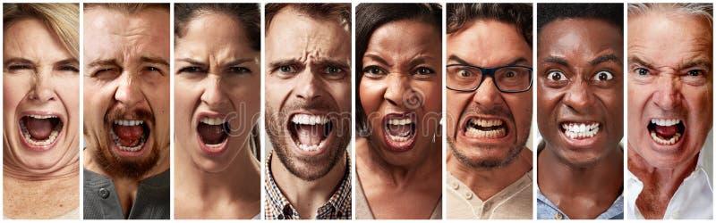 Enojado, furia y gente de griterío imagen de archivo
